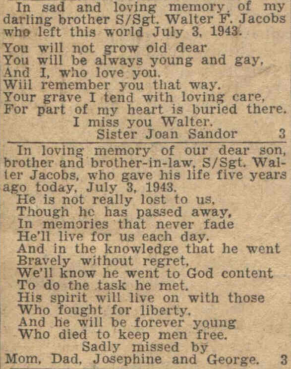 Walter Jacobs Magnificent Loss Of A Family Member Poem